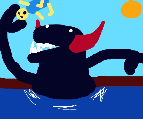 River demon squeezes head