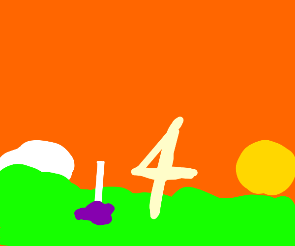 A lollipop blob with a 4 next to it