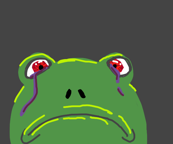 Frog with tears in its eyes