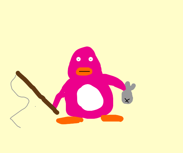 pink penguin catches a fishy