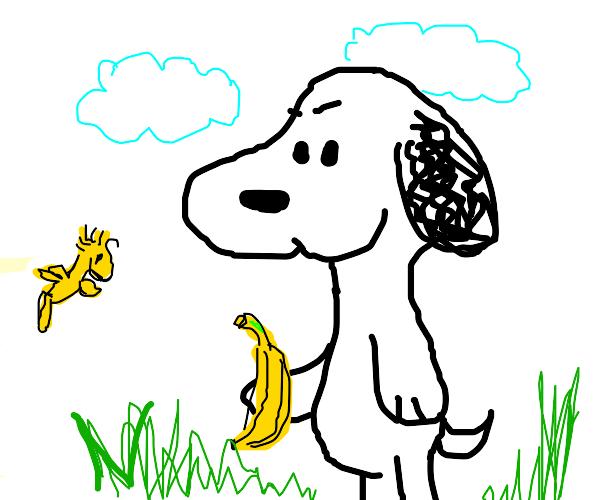 Snoopy has a banana