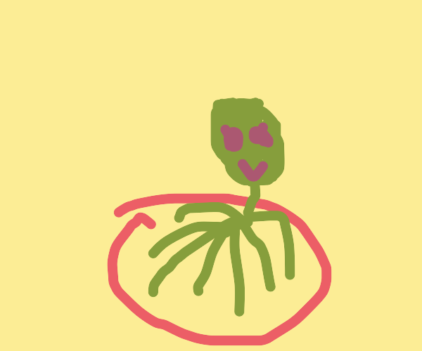 alien with 7 long legs trapped in a circle