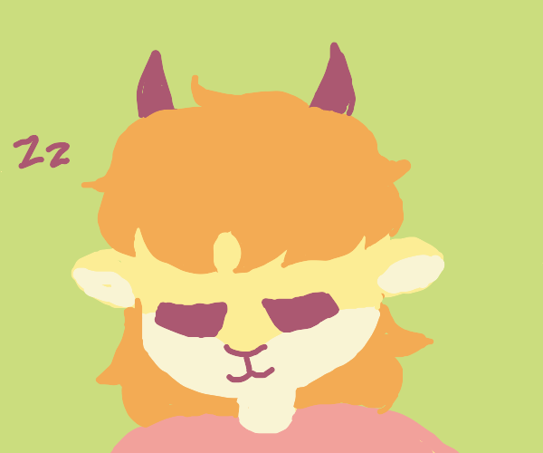 child lion and goat mix sleeps (face view)