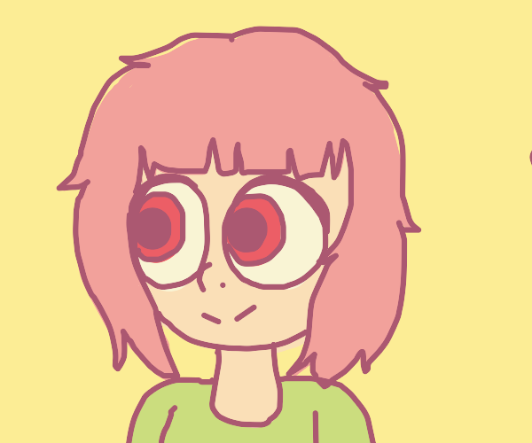 Anime girl with pink hair and big eyes