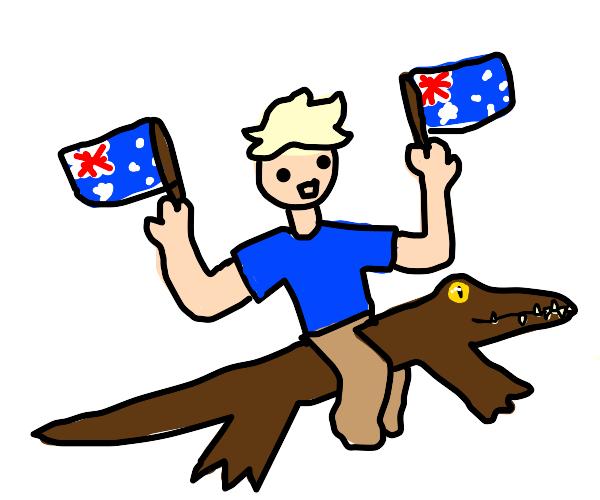 Australian man rides on top of alligator