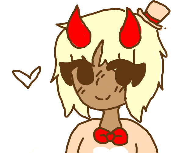An anime girl with devil horns and a bowtie