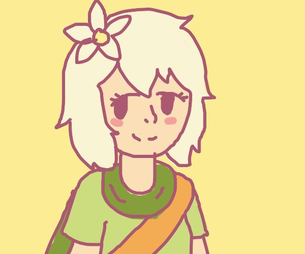 cute anime girl with white hair