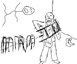 Stickman yells at old man with walker