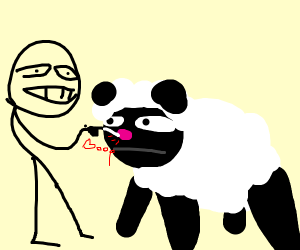 The stickman is booping the sheep's nose