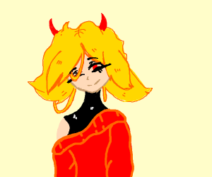 demon girl with yellow hair (anime?)