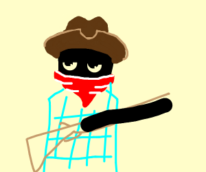 Cowboy looking guy with shotgun