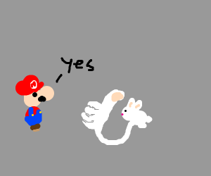 Mario Says yes to bunny giving the thumbs up