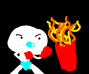 Baby Odd1sOut fights curly fries