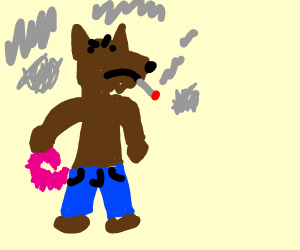 werewolf with smoke around and pink curlytail