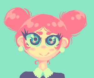 Happy cute little fancy pink-haired animegirl
