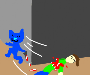 Smol blu cat murders man and runs from corpse
