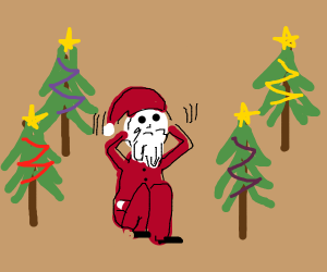 santa has christmas tree phobia