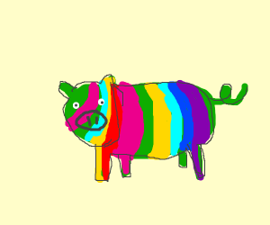 lazily drawn rainbow pig