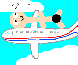 Naked man on a flying plane