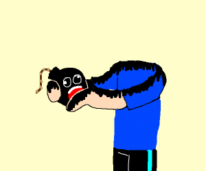 Headless Man Holding Black Bombs Screaming