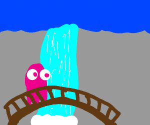 a ghost crossing a waterfall bridge