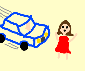 brunette about to be hit by red car