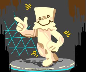 Drawception man dancing on a podium at disco