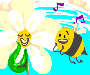 bee and flower bee is singing