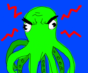 ANGERY green octopus