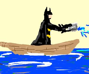 Batman sailing on a flimsy boat.