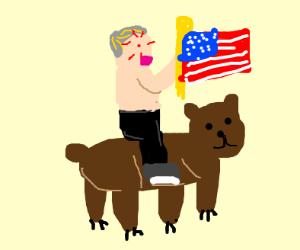 Putin holding american flag