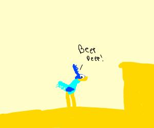 Road runner running in desert