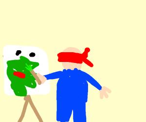 Blind man paints a portrait of Kermit