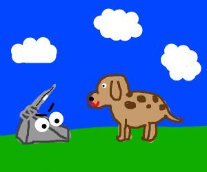 Rock tries to kill a dog