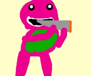 Barney Blazing a fat blunt