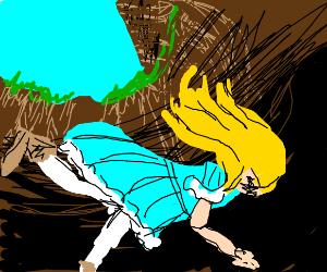 Alice in wonderland falling through hole