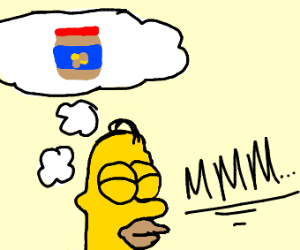 Homer thinking about peanut butter
