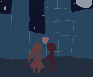 Girl & boy holding hands in the city at night