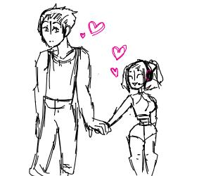 giant chad with smol gamer girl gf