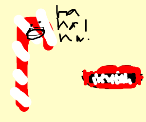 A candy cane wants to laugh at a laugh
