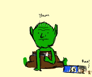 Monster eats item and says yum
