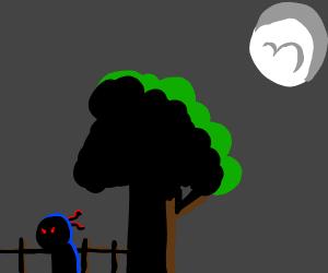 man hiding in the shadows