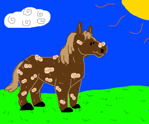 a horse covered in peanuts