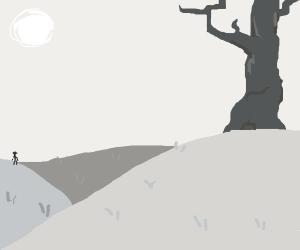 A stern man walks away from a dead tree