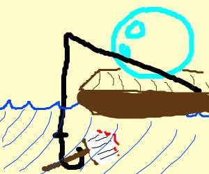 A bubble fishing a paintbrush