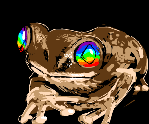 skin colored frog with rainbow eyes