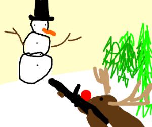 Rudolph sniping a snowman