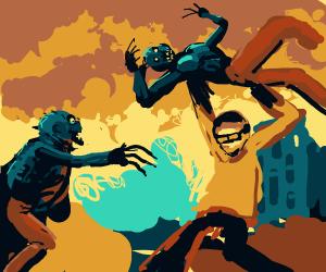 Nerd throwing zombies