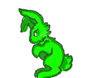 a green rabbit