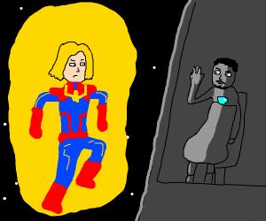 Captain Marvel In Light Tony Stark in Dark